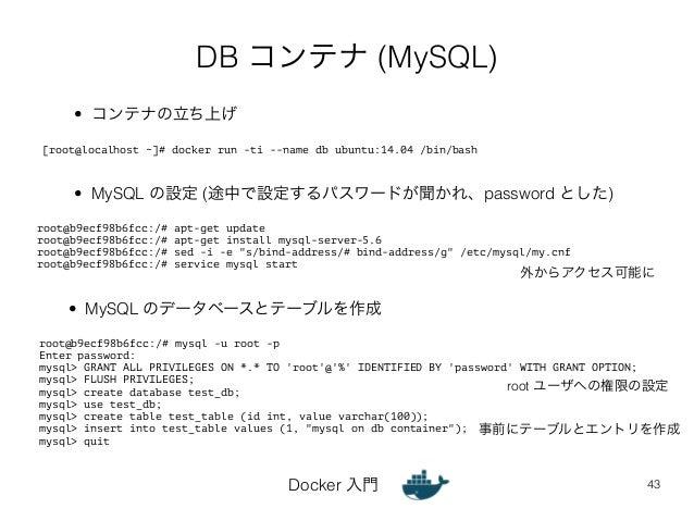 DB コンテナ (MySQL)  [root@localhost ~]# docker run -ti --name db ubuntu:14.04 /bin/bash  • MySQL の設定 (途中で設定するパスワードが聞かれ、passwo...