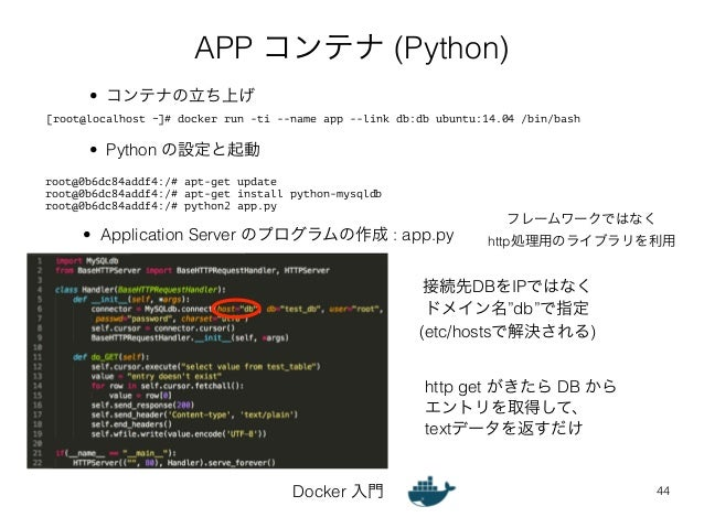 APP コンテナ (Python)  [root@localhost ~]# docker run -ti --name app --link db:db ubuntu:14.04 /bin/bash  Docker 入門  フレームワークでは...