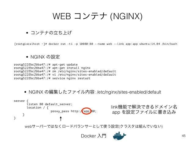 WEB コンテナ (NGINX)  Docker 入門  45  root@522fbc2bba47:/# apt-get update  root@522fbc2bba47:/# apt-get install nginx  root@522...