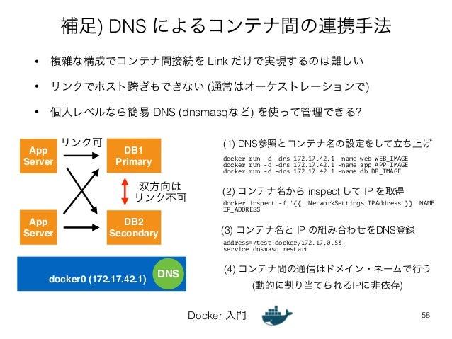 補足) DNS によるコンテナ間の連携手法  • 複雑な構成でコンテナ間接続を Link だけで実現するのは難しい  • リンクでホスト跨ぎもできない (通常はオーケストレーションで)  • 個人レベルなら簡易 DNS (dnsmasqなど) ...