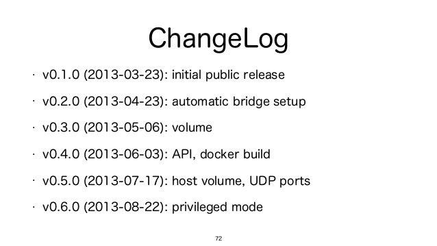 ChangeLog • v0.1.0 (2013-03-23): initial public release • v0.2.0 (2013-04-23): automatic bridge setup • v0.3.0 (2013-05-06...
