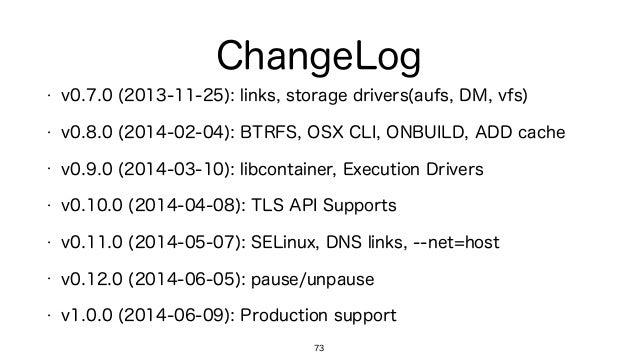 ChangeLog 73 • v0.7.0 (2013-11-25): links, storage drivers(aufs, DM, vfs) • v0.8.0 (2014-02-04): BTRFS, OSX CLI, ONBUILD, ...