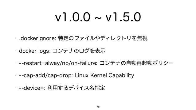 v1.0.0 v1.5.0 • .dockerignore: 特定のファイルやディレクトリを無視 • docker logs: コンテナのログを表示 • --restart=alway/no/on-failure: コンテナの自動再起動ポリシー...