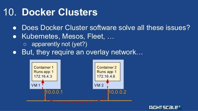 10. Docker Clusters  ● Does Docker Cluster software solve all these issues?  ● Kubernetes, Mesos, Fleet, …  ○ apparently n...