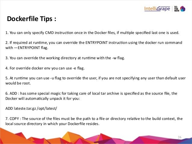 26 1.  You  can  only  specify  CMD  instrucon  once  in  the  Docker  files,  if  mulple  spec...