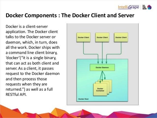 Docker  Components  :  The  Docker  Client  and  Server Docker  is  a  client-‐server   application...