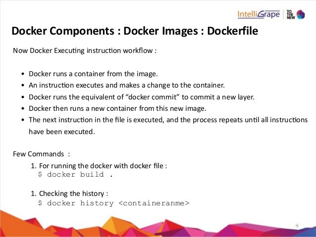 9 Docker  Components  :  Docker  Images  :  Dockerfile Now  Docker  Execung  instrucon  workflow  : ...