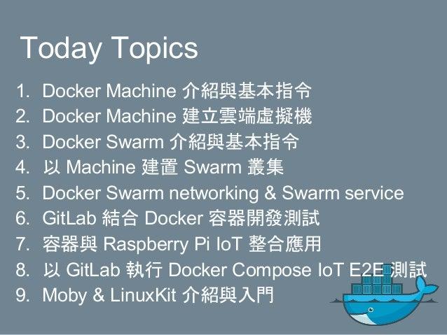 Today Topics 1. Docker Machine 介紹與基本指令 2. Docker Machine 建立雲端虛擬機 3. Docker Swarm 介紹與基本指令 4. 以 Machine 建置 Swarm 叢集 5. Docke...