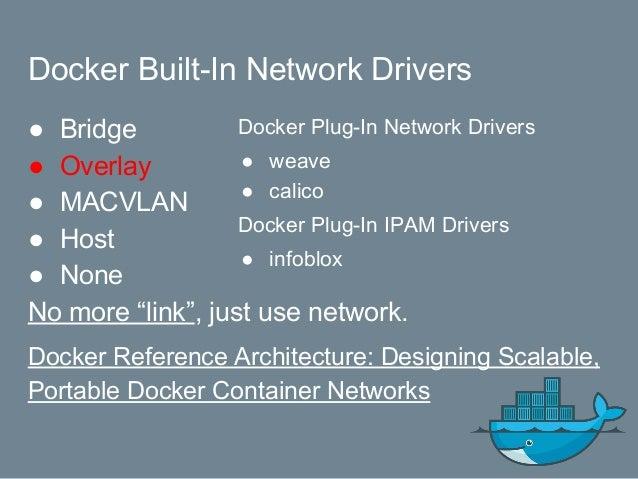 Exercise $ docker network ls $ docker network create --driver overlay my-network $ docker network inspect my-network $ doc...