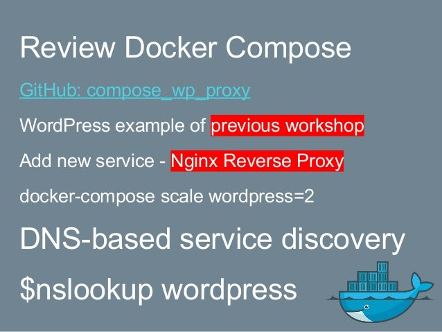 Review Docker Compose GitHub: compose_wp_proxy WordPress example of previous workshop Add new service - Nginx Reverse Prox...