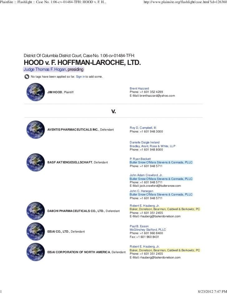 PlainSite :: Flashlight :: Case No. 1:06-cv-01484-TFH: HOOD v. F. H...                    http://www.plainsite.org/flashli...