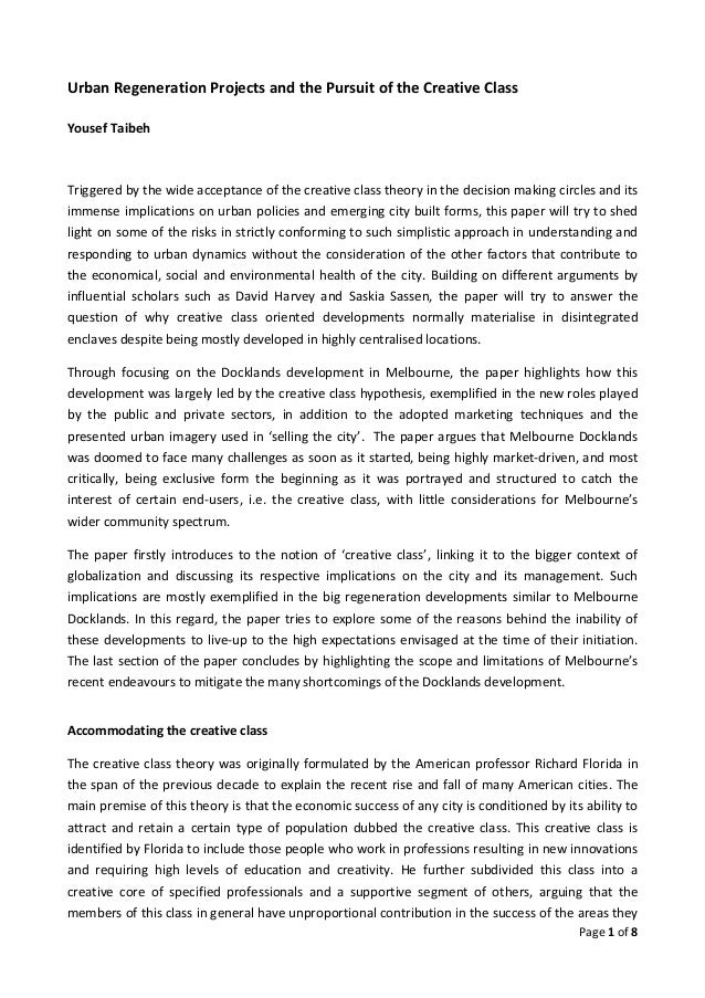 Urban Regeneration Projects and the Pursuit of the Creative ClassYousef TaibehTriggered by the wide acceptance of the crea...
