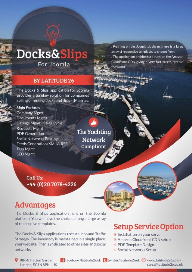 BY LATITUDE 26 The Docks & Slips application for Joomla provides a turnkey solution for companies sellingorrentingdocksand...