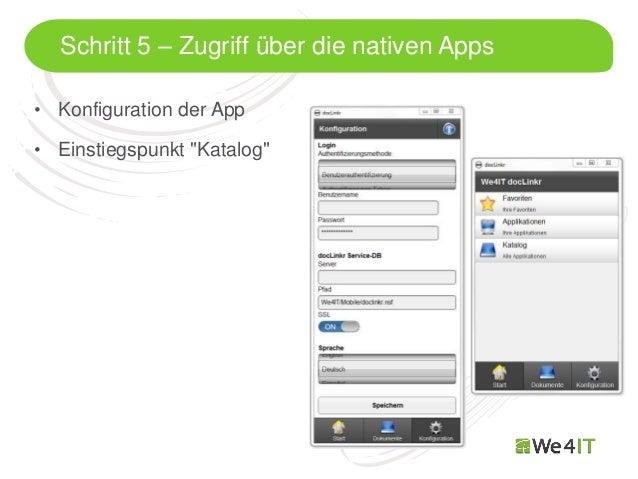 """Schritt 5 – Zugriff über die nativen Apps• Konfiguration der App• Einstiegspunkt """"Katalog""""  Mastertitelformat bearbeiten"""
