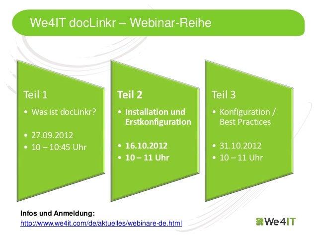 We4IT docLinkr – Webinar-ReiheTeil 1                        Teil 2                 Teil 3• Was ist docLinkr?           • I...