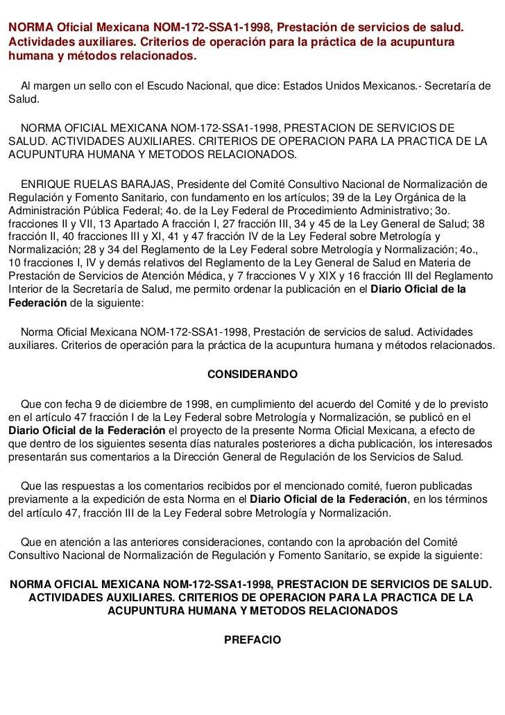 NORMA Oficial Mexicana NOM-172-SSA1-1998, Prestación de servicios de salud.Actividades auxiliares. Criterios de operación ...