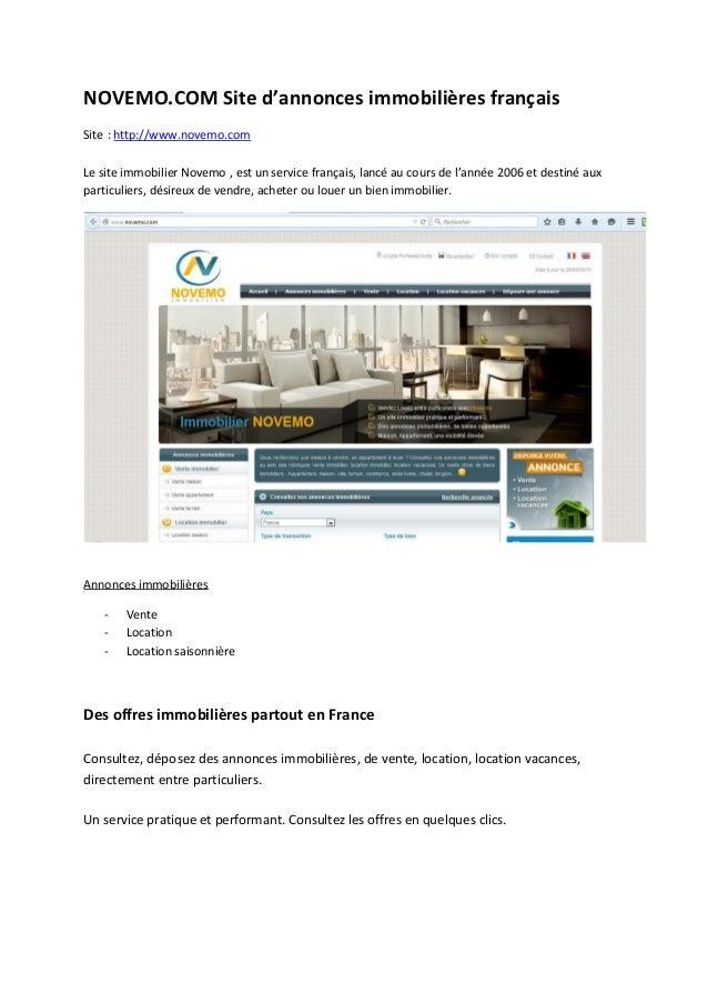 NOVEMO.COM Site d'annonces immobilières français Site : http://www.novemo.com Le site immobilier Novemo , est un service f...