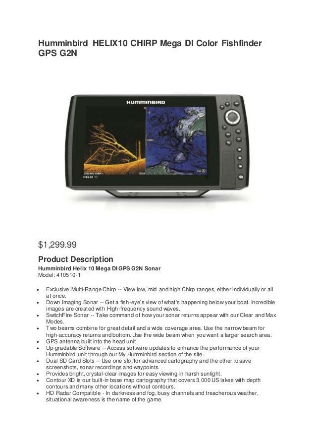 Humminbird HELIX10 CHIRP Mega DI Color Fishfinder GPS