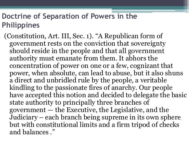 application doctrine of separation of power in nigeria This body is represented in nigeria in form of into the constitutionality of administrative application of the doctrine of separation of powers in.
