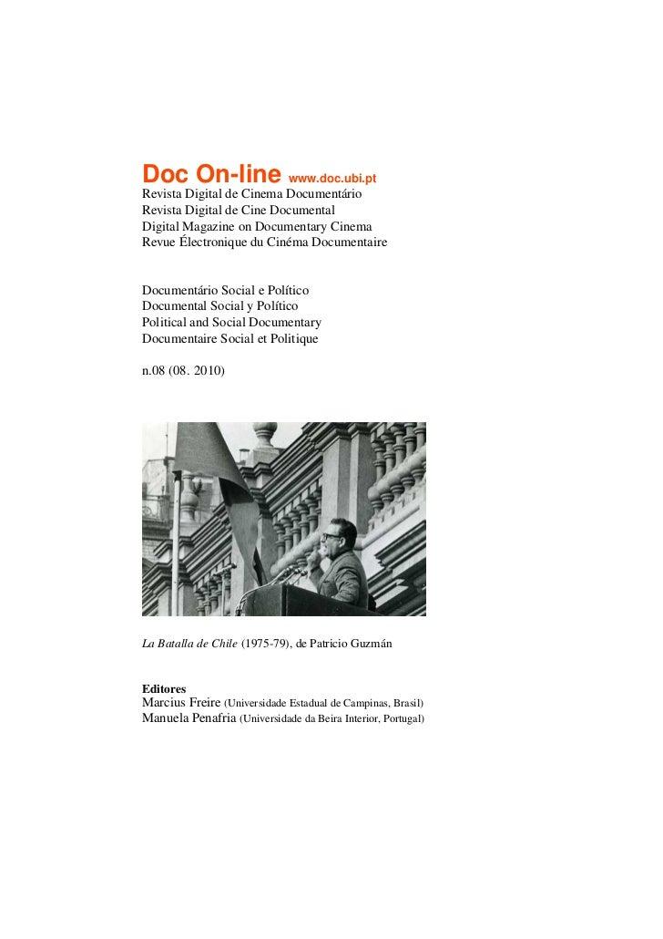 Doc On-line www.doc.ubi.ptRevista Digital de Cinema DocumentárioRevista Digital de Cine DocumentalDigital Magazine on Docu...