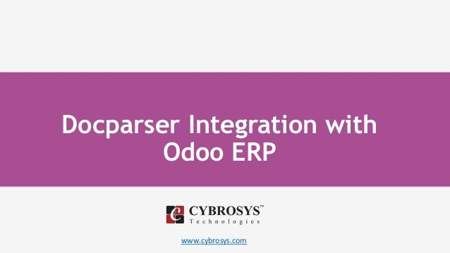 www.cybrosys.com Docparser Integration with Odoo ERP