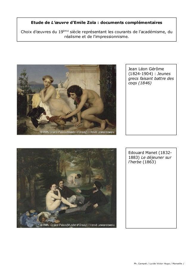 Etude de L'œuvre d'Emile Zola : documents complémentaires Choix d'œuvres du 19ème siècle représentant les courants de l'ac...