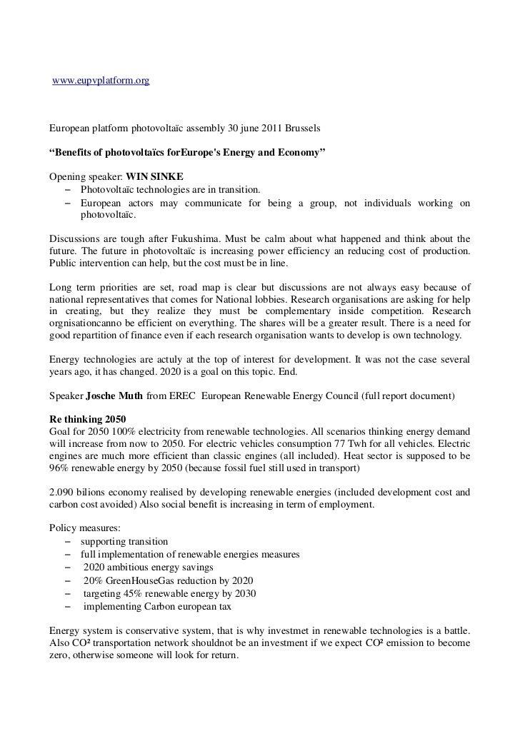 "www.eupvplatform.orgEuropean platform photovoltaïc assembly 30 june 2011 Brussels""Benefits of photovoltaïcs forEuropes Ene..."