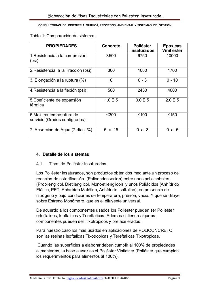 Elaboración de Pisos Industriales con Poliester insaturado.      CONSULTORIAS DE INGENIERIA QUIMICA, PROCESOS, AMBIENTAL ...