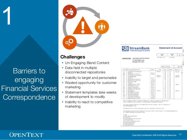 OpenText Confidential. ©2016 All Rights Reserved. 17 1 Barriers to engaging Financial Services Correspondence Challenges Ÿ...