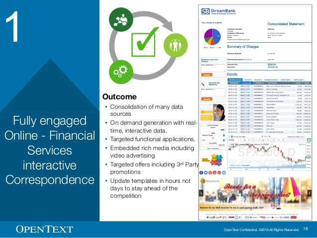 OpenText Confidential. ©2016 All Rights Reserved. 18 1 Fully engaged Online - Financial Services interactive Correspondenc...