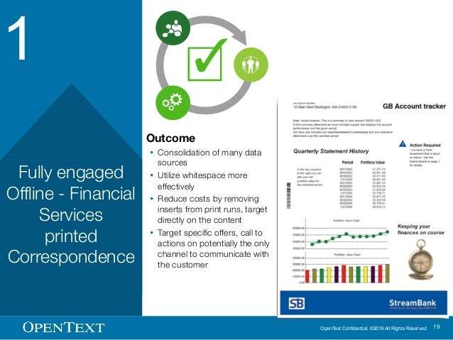 OpenText Confidential. ©2016 All Rights Reserved. 19 1 Fully engaged Offline - Financial Services printed Correspondence O...