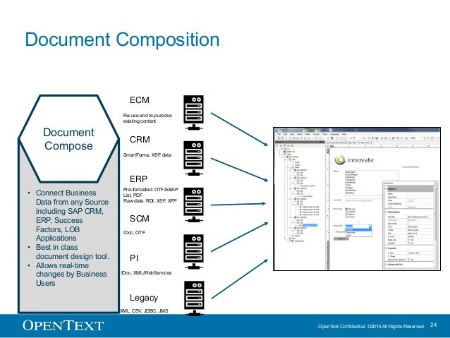 OpenText Confidential. ©2016 All Rights Reserved. 24 Document Composition Document Compose • Connect Business Data from an...