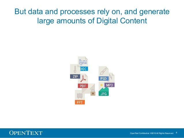 OpenText Confidential. ©2016 All Rights Reserved. 4 But data and processes rely on, and generate large amounts of Digital ...