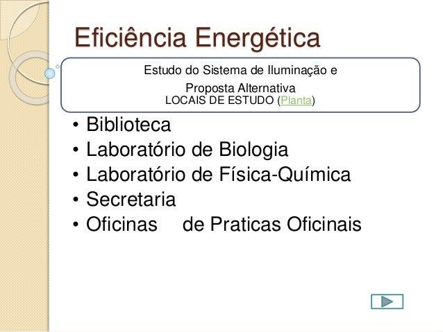 Eficiência Energética Estudo do Sistema de Iluminação e Proposta Alternativa LOCAIS DE ESTUDO (Planta) • Biblioteca • Labo...