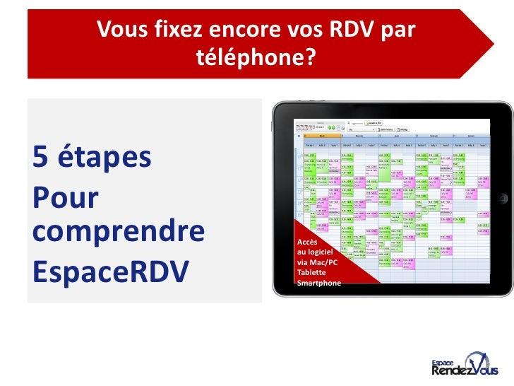 De l'agenda papier à l'agenda EspaceRDV          Vous fixez encore vos RDV par                   téléphone?5 étapesPourcom...
