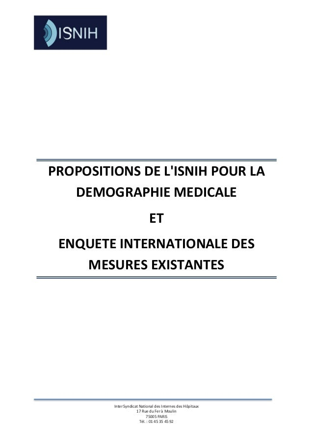PROPOSITIONS DE LISNIH POUR LA   DEMOGRAPHIE MEDICALE                             ET ENQUETE INTERNATIONALE DES    MESURES...