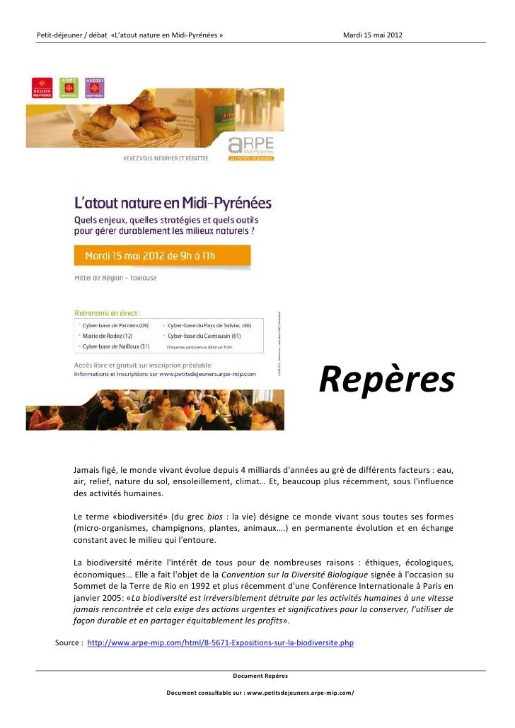 Petit-déjeuner / débat «L'atout nature en Midi-Pyrénées »                                      Mardi 15 mai 2012          ...