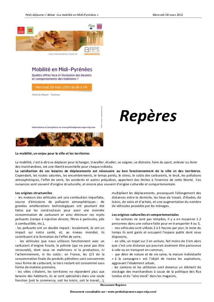 Petit‐déjeuner/débat«LamobilitéenMidi‐Pyrénées»                                       Mercredi28mars2012 ...