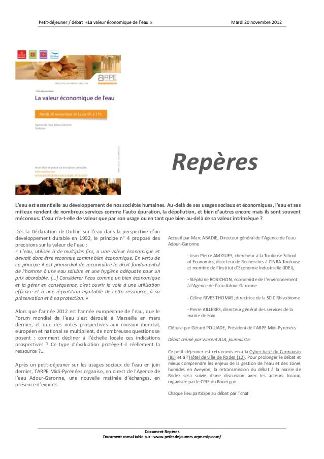 Petit-déjeuner / débat «La valeur économique de l'eau »                                        Mardi 20 novembre 2012     ...