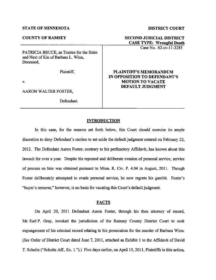 Docs #890706-v1-foster --plaintiff_s_memorandum_in_opposition_to_vacate