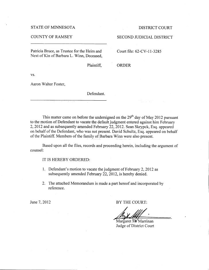 Docs #895170-v1-foster --order_denying_motion_to_vacate_judgment