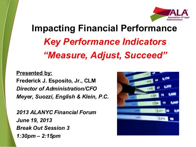 "Impacting Financial Performance Key Performance Indicators ""Measure, Adjust, Succeed"" Presented by: Frederick J. Esposito,..."