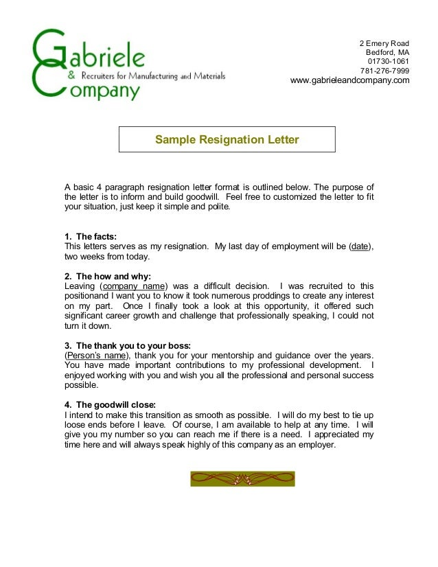Resignation form 4 a basic 4 paragraph resignation letter expocarfo