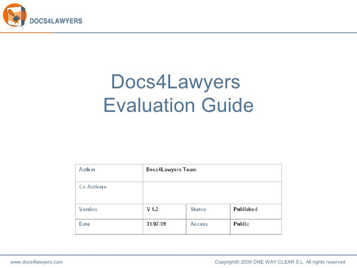 Docs4Lawyers  Evaluation Guide