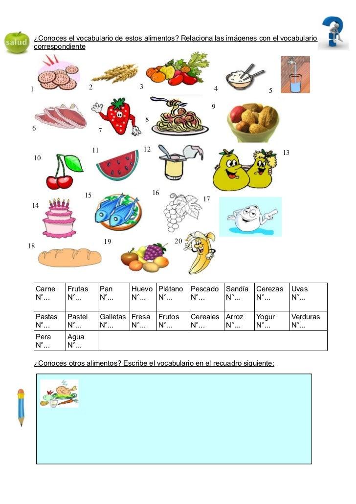 ¿Conoces el vocabulario de estos alimentos? Relaciona las imágenes con el vocabulario correspondiente1                    ...