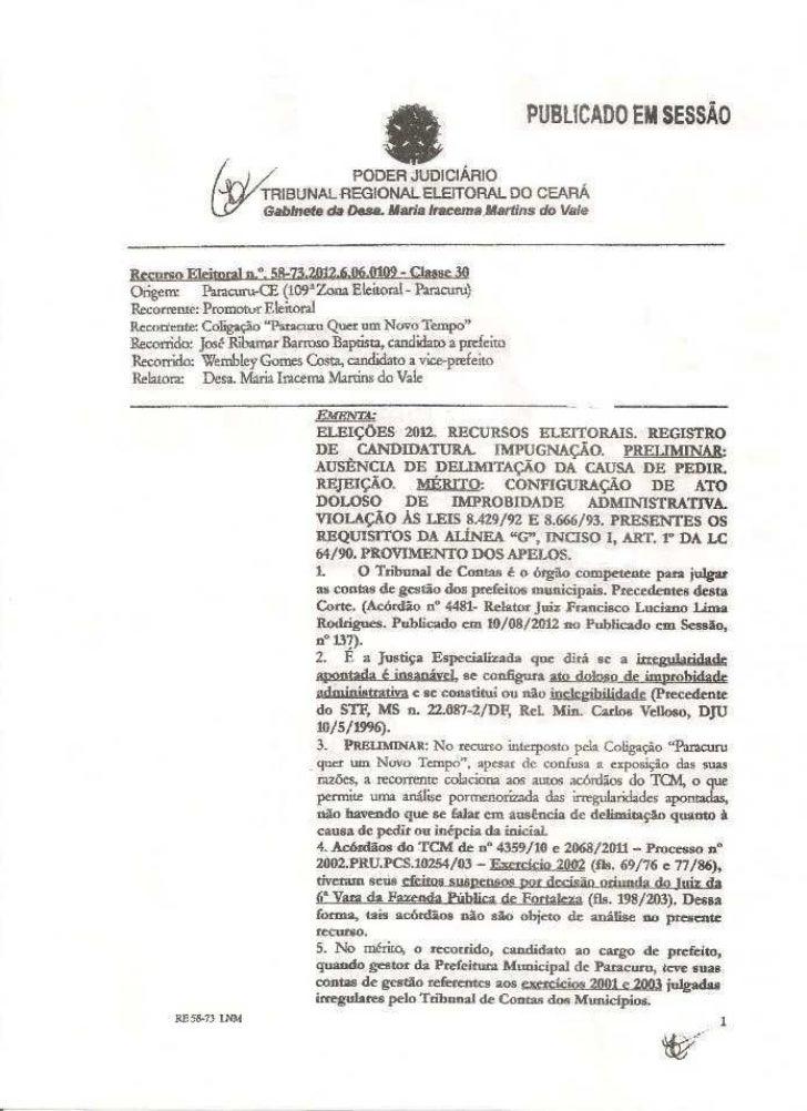 MINISTÉRIO PÚBLICO FEDERAL                     PROCURADORIA REGIONAL ELEITORALExmo. Senhor Juiz do Tribunal Regional Eleit...
