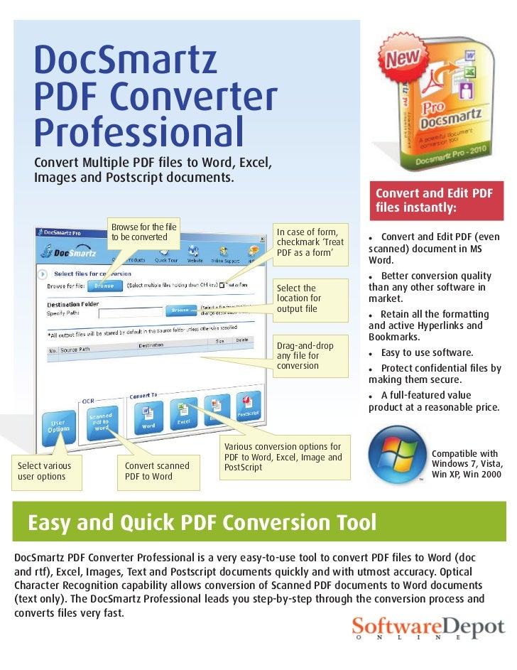 DocSmartz   PDF Converter   Professional    Convert Multiple PDF files to Word, Excel,    Images and Postscript documents....