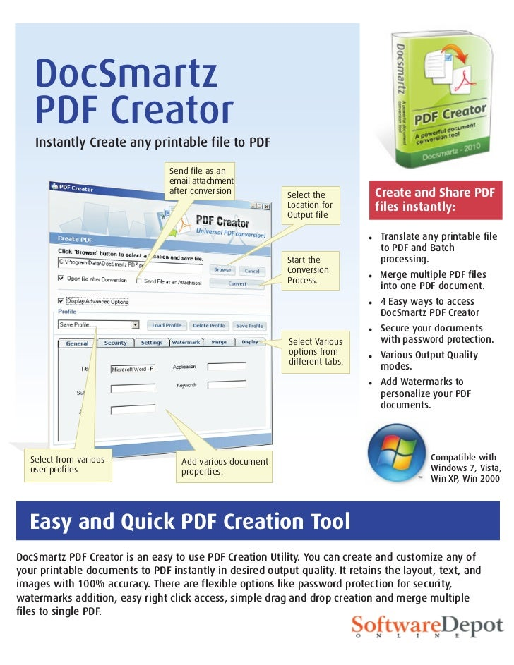 DocSmartz   PDF Creator    Instantly Create any printable file to PDF                                 Send file as an     ...