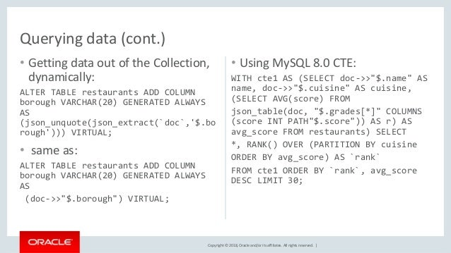 MySQL NoSQL JSON JS Python