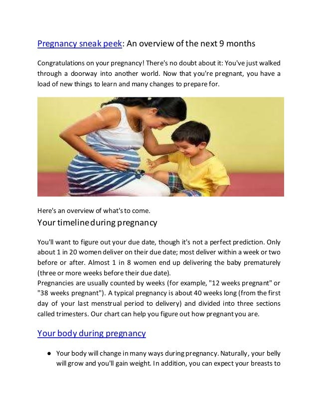 An overview of the report on your pregnancy and childbirth